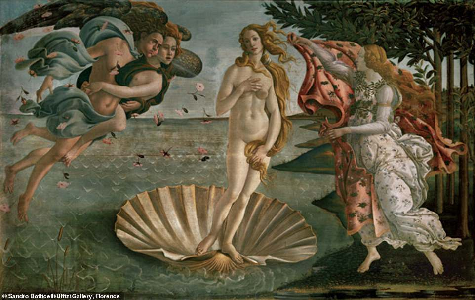 Sandro Botticelli, The Birth of Venus, c. 1482-85, tempura on canvas, 172.5 x 278.9 cm: Kelly said: 'In Botticelli's famous painting, Venus windsurfs to shore on a supersized scallop shell. Striking a pose, she gently tilts her head towards a curlicue of golden hair that has miraculously spun itself into a perfect logarithmic spiral on her right shoulder. Too precise to be an accident of brushwork, this seashell-shaped curl whispers sweet nothings in the ear of the goddess who listens intently'