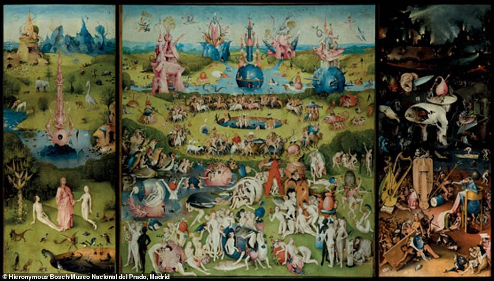 Hieronymus Bosch, The Garden of Earthly Delights (triptych open), 1505-10, oil on panel: Kelly said: 'To crack the code of Hieronymus Bosch's famously cryptic vision of fleshly shenanigans, you must first find the Easter egg he's hidden for us in his carnal garden. To locate it, all you have to do is draw a cross: imagine tracing a line down the very middle of the work vertically and one across its equator horizontally and, voilà, 'egg' marks the spot at the dead centre of the masterpiece'