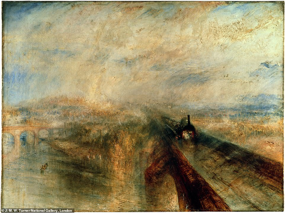J. M. W. Turner, Rain Steam, and Speed - The Great Western Railway, 1844, oil on canvas: Kelly said: 'Turner is famous for going big. Big skies. Big storms. Big ships. All painted with a big brush. But going big sometimes means going small. When Turner's famous Rain, Steam, and Speed – The Great Western Railway was exhibited in 1844, a tragedy that occurred two and a half years earlier, on Christmas Eve in 1841, was still fresh in visitors' minds'
