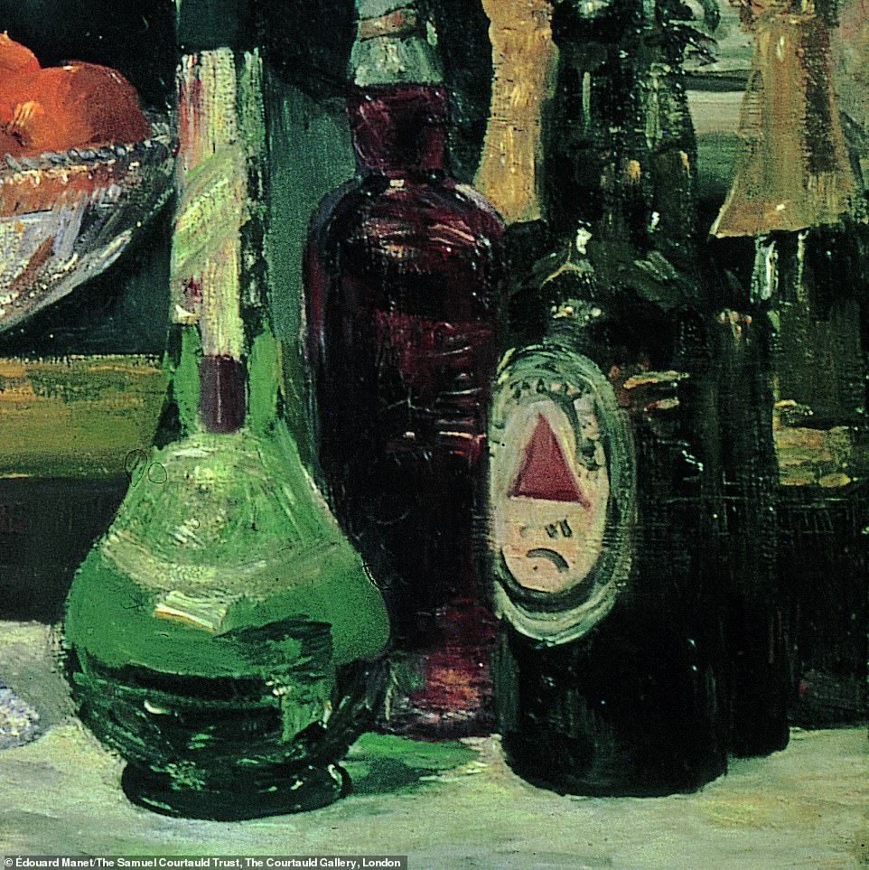 Kelly said: 'Seen in the context of the commercial label, the spray of roses across the barmaid's cleavage, which takes the organic shape of a red triangle, marks her out as a product to be purchased and consumed – a woman to be bought and sold. The Folies-Bergère was well-known as a place where barmaid's moonlighted as prostitutes. Suddenly, the shadowy man we see approaching her from the right in the mirror behind her is a trader in souls, and we, standing precisely where he is, are implicated in the transaction'