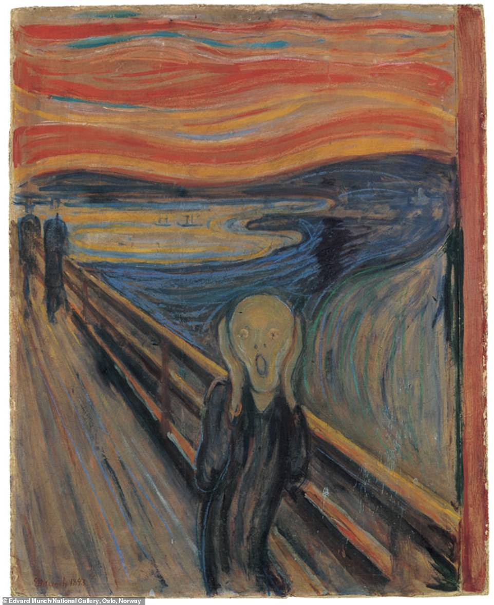 Edvard Munch, The Scream, 1893, oil, tempera, pastel and crayon on cardboard: Kelly said: 'Edvard Munch's 1893 portrait of a howling figure has become an archetype of existential angst and continues to hypnotise, like a flickering bulb swaying above us. Munch took an anxious interest in electricity and the technological advances of the day, and once confessed to his journal that he was haunted by a mysterious shape that 'directed the wires — and held the machinery in his hand'